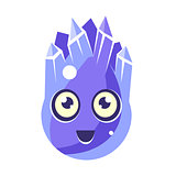Blue Crystal Ice Element, Egg-Shaped Cute Fantastic Character With Big Eyes Vector Emoji Icon
