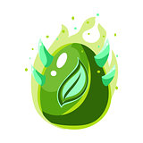 Egg With Green Flames And Leaf Print , Fantastic Natural Element Egg-Shaped Bright Color Vector Icon