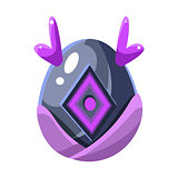 Grey Egg With Purple Horns And Square Decoration, Fantastic Natural Element Egg-Shaped Bright Color Vector Icon