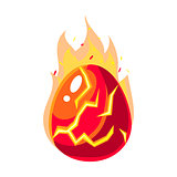 Red Fire Egg In Flames, Fantastic Natural Element Egg-Shaped Bright Color Vector Icon