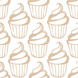 White cream cupcake seamless light beige pattern