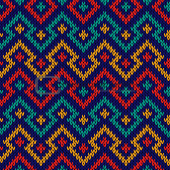 Knitting seamless geometric colour pattern