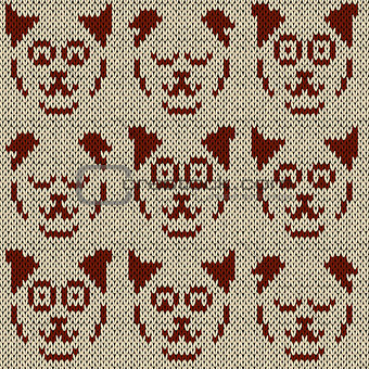 Knitting pattern with set of nine amusing cat faces