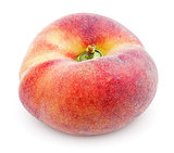 Chinese flat donut peach on white