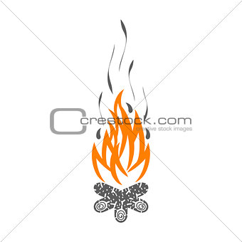 Campfire isolated on white background.