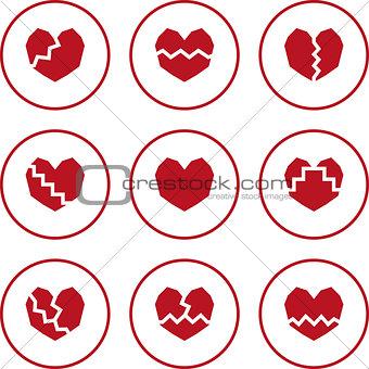 broken heart icons.