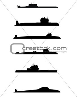 Six submarine silhouettes