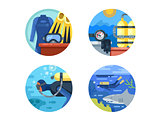 Diving icon set