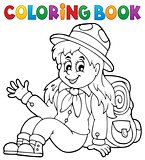 Coloring book scout girl theme 1