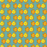 Yellow funny fish seamless pattern