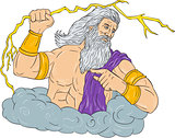 Zeus Wielding Thunderbolt Lightning Drawing
