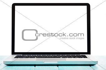 Modern laptop computer, top view