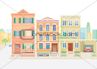 Town houses in the city