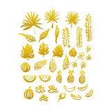 Gold Hand Drawn Plants