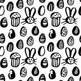Grunge Brush Easter Seamless Pattern