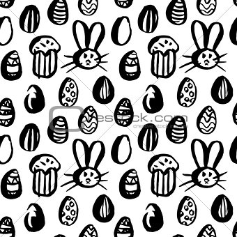 Grunge Brush Easter Seamless Pattern
