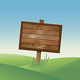 Wood sign copyspace in nature background