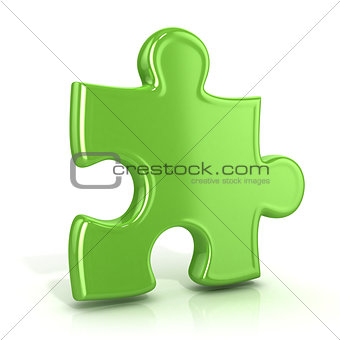Single, green, standing jigsaw puzzle piece. 3D
