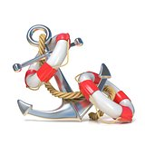 Anchor, lifebuoy and rope. 3D