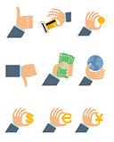 Nine businesmen's hands