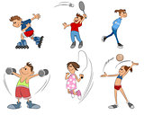 Six kids practice sport