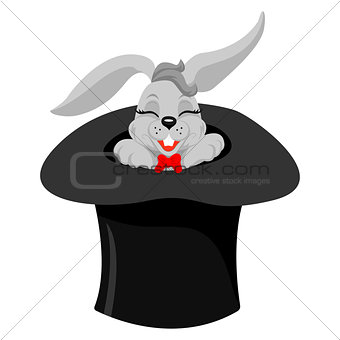 A cute cartoon magicians bunny rabbit coming out of a top hat with a magic wand