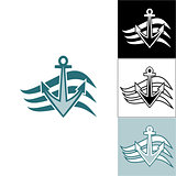 Logo anchor on the waves