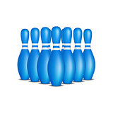 Bowling pins in blue design with white stripes standing in formation