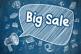 Big Sale - Cartoon Illustration on Blue Chalkboard.