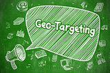 Geo-Targeting - Cartoon Illustration on Green Chalkboard.