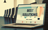 Laptop Screen with Best Solutions Concept. 3D.