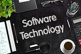 Software Technology on Black Chalkboard. 3D Rendering.