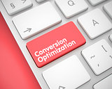 Conversion Optimization - Inscription on Red Keyboard Button. 3D