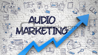 Audio Marketing Drawn on White Brickwall.