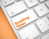 Breaking News - Inscription on White Keyboard Keypad. 3D.