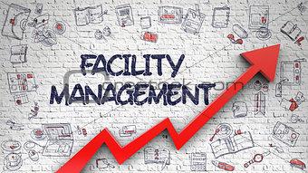 Facility Management Drawn on White Brick Wall.