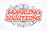 Branding Solutions - Doodle Red Text. Business Concept.