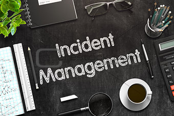 Black Chalkboard with Incident Management. 3D Rendering.