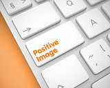Positive Image - Inscription on White Keyboard Keypad. 3D.