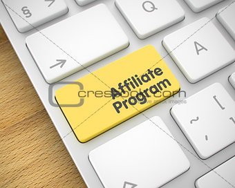 Affiliate Program - Message on Yellow Keyboard Key. 3D.