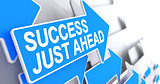 Success Just Ahead - Label on Blue Cursor. 3D.