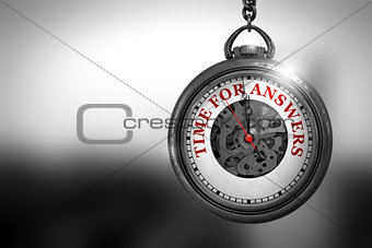 Time For Answers on Pocket Watch Face. 3D Illustration.