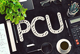 Black Chalkboard with PCU. 3D Rendering.