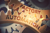 Factory Automation on the Golden Gears. 3D Illustration.