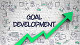 Goal Development Drawn on White Wall.