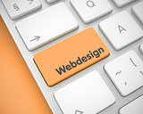 Webdesign - Inscription on the Orange Keyboard Keypad. 3D.