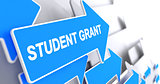 Student Grant - Label on Blue Arrow. 3D.