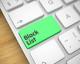 Black List - Text on the Green Keyboard Key. 3D.