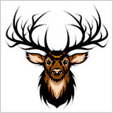Deer Head. Vector Illustration.