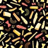Seamless vector pattern with different tasty pasta